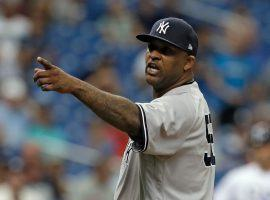 CC Sabathia chastising the Tampa Bay Rays bench about their pitcher threw at one of the Yankees in a game in September 2018. (Image: Chris O'Meara/AP)