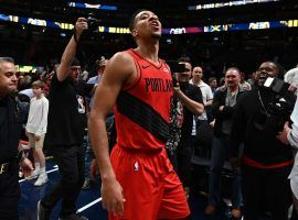 CJ McCollum of the Portland Trailblazers celebrating after their Game 7 win against the Denver Nuggets at the Pepsi Center in Denver, Colorado. (Image: Porter Lambert/Getty)