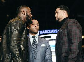 Deontay Wilder (left) will face mandatory challenger Dominic Breazeale (right) on Saturday at the Barclays Center. (Image: Amanda Westcott/Showtime)