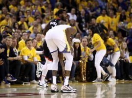Kevin Durant of the Golden State Warriors injures his calf against the Houston Rockets during a playoff game at Oracle Arena in Oakland, CA. (Image: Ezra Shaw/Getty)