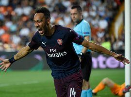 Pierre-Emerick Aubameyang scored a hat trick to lead Arsenal over Valencia in the second leg of their Europa League semifinal. (Image: Jose Jordan/AFP/Getty)