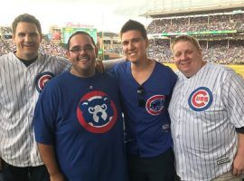 Jeopardy! champ James Holzhauer (second from right) at a Chicago Cubs game with friends at Wrigley Field in Chicago, IL. (Image: James Holzhauer)
