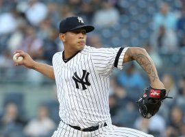 "Pitcher Jonathan ""Johnny Lasagna"" Loaisiga during a game last week at Yankee Stadium in the Bronx, New York. (Image: Al Bello/Getty)"