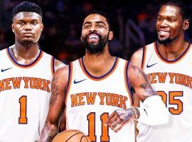 The Knicks fantasy scenario would see Zion Williamson, Kyrie Irving, and Kevin Durant playing at Madison Square Garden next season. (Image: YouTube)