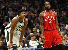 "Milwaukee Bucks star Giannis ""Greek Freak"" Antetokounmpo and Kawhi Leonard of the Toronto Raptors square off in the Eastern Conference Finals. (Image: Stacy Revere/Getty)"