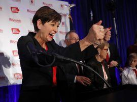 Gov. Kim Reynolds signed a bill on Monday that will allow sports betting in Iowa. (Image: Charlie Neibergall/AP)