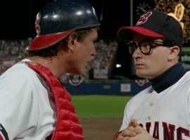 """Jake Taylor (Tom Berenger) and Ricky Vaughn (Charlie Sheen) play for the Cleveland Indians in the 1989 film """"Major League"""". (Image: Morgan Creek Productions)"""