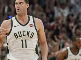 Brook Lopez led the Milwaukee Bucks to a Game 1 victory over the Toronto Raptors in the 2019 Eastern Conference Finals. (Image: Morry Gash/AP)