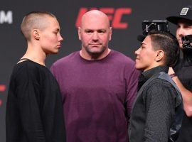 Rose Namajunas (left) will defend her strawweight championship against Jessica Andrade (right) at UFC 237. (Image: Josh Hedges/Zuffa/Getty)