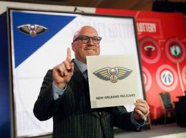 David Griffin from the New Orleans Pelicans is jubilant after the Pelicans landed the No. 1 pick in the upcoming NBA Draft. (Image: Nuccio DiNuzzo/AP)