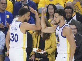 Stephen Curry (30) and Klay Thompson (right) led the Golden State Warriors to a 116-94 victory over the Portland Trail Blazers in Game 1 of the 2019 Western Conference Finals. (Image: Kyle Terada/USA Today Sports)