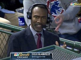 NBC reporter Doug Glanville was giving a report when a fan flashed a sign associated with white supremacy. (Image: NBC Sports) Caption Two: Doug Glanville