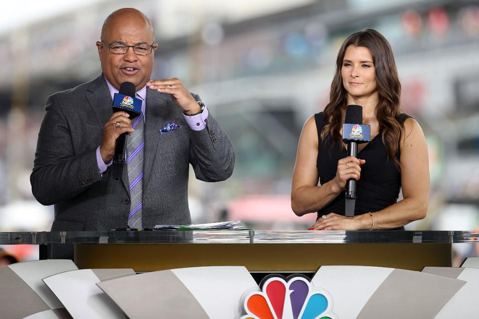 Mike Tirico and Danica Patrick