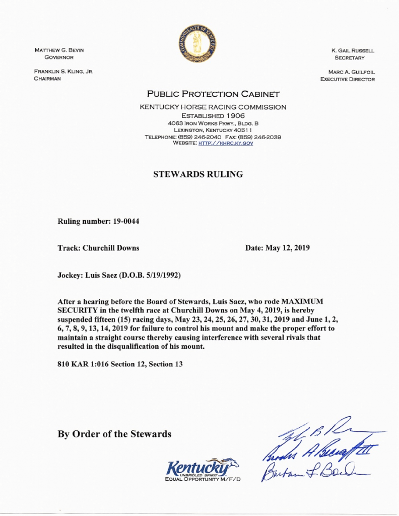 Luis Saez suspension letter
