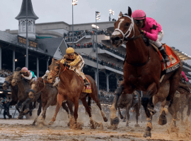 Maximum Security in the pink colors sloshes home a winner in the 2019 Kentucky Derby only to be disqualified.
