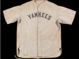 Babe Ruth's 1928-1930 game-worn New York Yankees jersey set a sports memorabilia record and TK family release. (Image: Newsday)