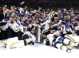 The Saint Louis Blues pose with the Stanley Cup after defeating the Boston Bruins in Game 7 of the Finals. (Image: Getty)
