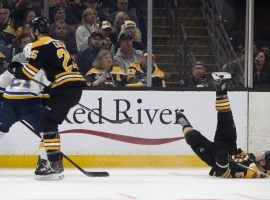 Noel Acciari of the Boston Bruins fell to the ice after being tripped by Tyler Bozak of the Saint Louis Blues during Game 5 of the 2019 Stanley Cup Finals in Boston. (Image: Stan Grossfield/Boston Globe)