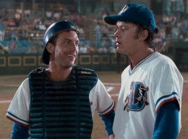 """Kevin Costner and Tim Robbins play minor league baseball players in """"Bull Durham"""", directed by Ron Shelton. (Image: Orion Pictures)"""