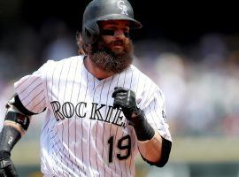 Charlie Blackmon rounding the bases after hitting a home run against the SD Padres at Coors Field in Denver, Colorado. (Image: Porter Lambert/Getty)