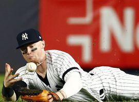 Outfielder Clint Frazier of the New York Yankees dives for a ball against the Red Sox in Yankee Stadium in the Bronx. (Image: Adam Hunger/USA Today Sports)