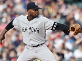 NY Yankees pitcher, Domingo German, pitching against the Cleveland Indians. (Image: Ken Blaze/USA Today)