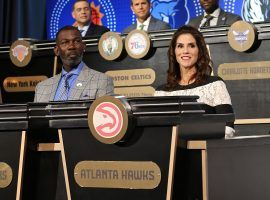 Jami Gertz, actress and part-owner of the Atlanta Hawks, at the 2019 NBA Draft Lottery. (Image: Getty)