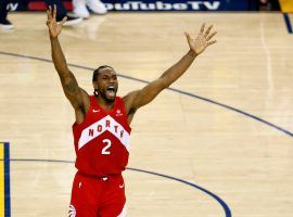 Kawhi Leonard of the Toronto Raptors celebrates winning the 2019 NBA Championship after defeating the Golden State Warriors at Oracle Arena in Oakland. (Image: Lachlan Cunningham/Getty)