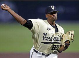 Vanderbilt pitcher Kumar Rocker threw a no-hitter against Duke in a NCAA Super Regional game in Nashville, TN. (Image: Wade Payne/AP)
