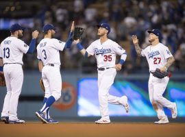 The LA dodgers celebrate a recent victory against the Phillies at Dodger Stadium in Los Angeles. (Image: Kyusung Gong/AP)