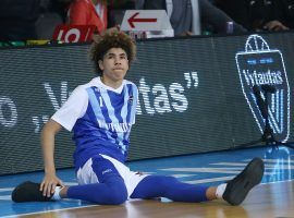LaMelo Ball of Vytautas Prienai BC playing a game int he Lithuanian Basketball League in early 2018. (Image: Alius Koroliovas/Getty Images)