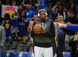 Kevin Durant during warmups of a Golden State Warriors game in late 2018. (Image: Mark Smith/USA Today Sports)