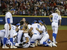 UCLA celebrates winning the 2019 World Series after a walk-off victory against Oklahoma in Oklahoma City. (Image: AP)