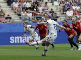 The United States is through to the quarterfinals of the Women's World Cup after a 2-1 victory over Spain. (Image: Alessandra Tarantino/AP)