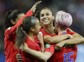 United States Women's National Soccer Team celebrates during the Women's World Cup opener against Thailand (Image: AP Photo/Alessandra Tarantino)