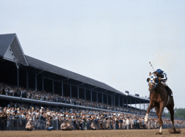 """Racings's finest moment: Secretariat, the """"incredible machine"""" wins the 1973 Belmont Stakes by 31 lengths. (Image: History.com)"""