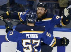 Ryan O'Reilly of the St. Louis Blues celebrates a goal with teammate David Perron (57) in Game 4 of the Stanley Cup Finals in St. Louis. (Image: AP)