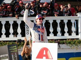 Sunday's Pocono 400 can be an unpredictable race, such as in 2017 when Ryan Blaney got his first victory of his career. (Image: Getty)