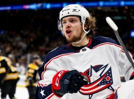 Artemi Panarin, winger with the Columbus Blue Jackets, playing against the Boston Bruins in the 2019 NHL Stanley Cup Playoffs. (Image: Adam Glanzman/Getty)