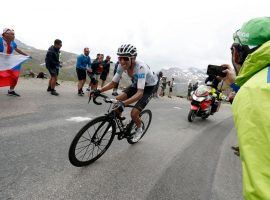 Egan Bernal (Team Ineos) opened up a two-minute lead over previous leader Julian Alaphilippe before Tour de France Stage 19 got called due to an ice storm. (Image: Getty)