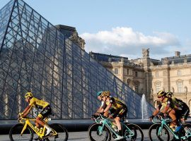 Egan Bernal (Team Ineos) leads the peloton into Paris during his victory in the 2019 Tour de France. (Image: Reuters)