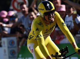 Julian Alaphilippe crosses finish line in Pau during Stage 13 of the Tour de France. (Image: Reuters)