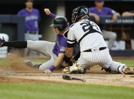 Yankees catcher Gary Sanchez tags out a baserunner from the Colorado Rockies at Yankee Stadium in the Bronx. (Image: AP)