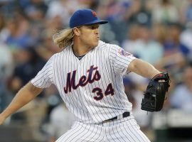 NY Mets starting pitcher Noah Syndergaard pitching against the Miami Marlins at CitiField in Queens, NY. (Image: Porter Lambert/Getty)