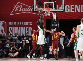 Boston Celtics center Tacko Fall playing against the Cleveland Cavs in the 2019 NBA Summer League in Las Vegas, NV. (Garrett Ellwood/Getty)