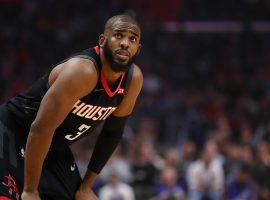 Chris Paul playing for the Houston Rockets in the 2019 playoffs. (Image: Christopher Rocco/Getty)