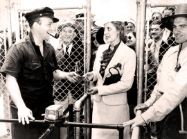 IT's July 3, 1937 and track founder Bing Crosby greets fans as they arrive for Del Mar's inaugural season. (Image: Del Mar Thoroughbred Club)