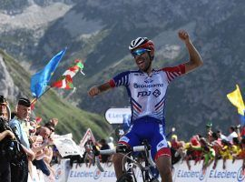 Thibaut Pinot (Groupama-FDJ) celebrates his victory in Stage 14 of the 2019 Tour de France at the top of Col du Tourmalet. (Image: Anne-Christine Poujoula/Getty)