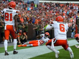 QB Baker Mayfield celebrates with Cleveland Browns teammates after a touchdown last season. (Image: Frank Jansky/Getty)