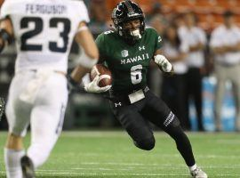 Cedric Byrd put up incredible DFS numbers in the 2019 season opener against Arizona, scoring more than 62 points on DraftKings. (Image: www.hawaiiathletics.com)